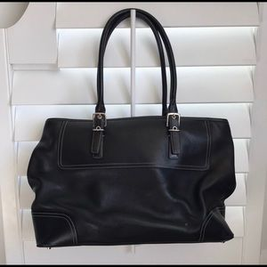 Coach Vintage Hampton Black Leather Carry All